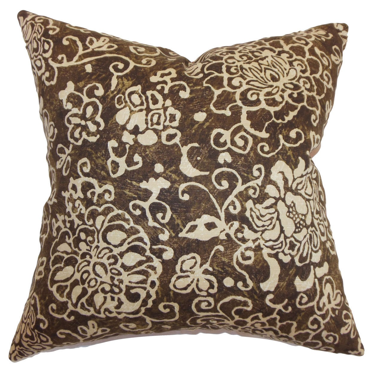 The Pillow Collection Jaffna Floral 22-inch Down Feather Throw Pillow Chocolate