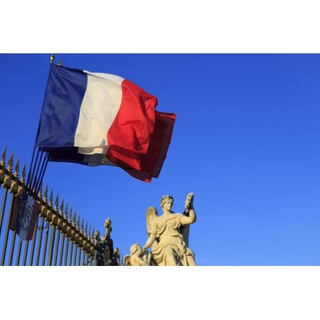 French Gate (An Angel Statue at First Gate, Seen Hear with French National Flag Print Wall Art By Paul Dymond )