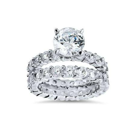 5 1/2ct  Diamond Eternity Engagement Wedding Ring Set 14K White