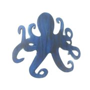 Handcrafted Decor Octopus-25-dark-blue Wooden Rustic Dark Blue Octopus Wall Mounted Decoration, 25 in.