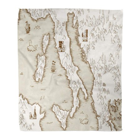 SIDONKU Flannel Throw Blanket Vintage Old Map of Italy Medieval Cartography Ancient Treasure World Arm 58x80 Inch Lightweight Cozy Plush Fluffy Warm Fuzzy Soft ()