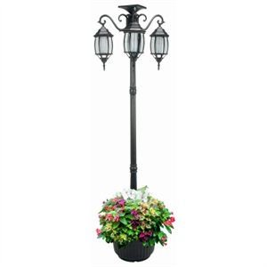J&J Global 352013 Solar Lamp Post & Planter, 3 Lights, Black, 6.5-Ft. - Quantity 1 ()
