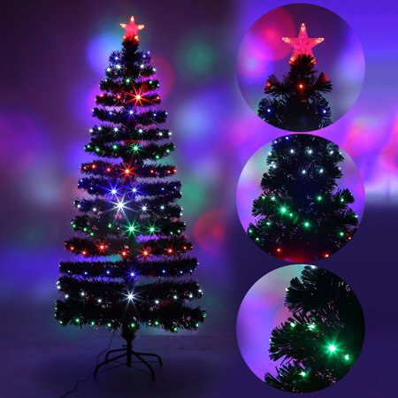 Led Fiber Optic Changing Lights Tall Christmas Tree Decoration Us