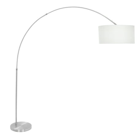 Salon Contemporary Floor Lamp with Satin Nickel Base and White Shade by LumiSource ()