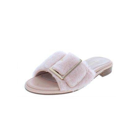 Stuart Weitzman Womens Fuzzywuz Lamb Fur Mule Dress Sandals Pink 5 Medium - Ladies Green Lamb