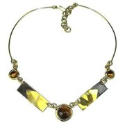 Brass Images Tiger Eye To the Point Brass Necklace