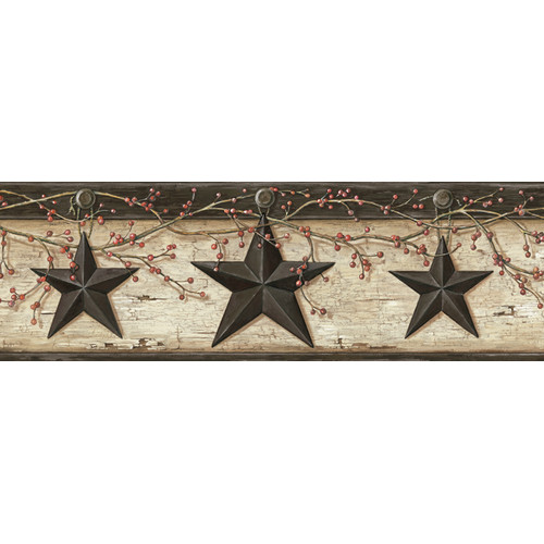 Brewster Home Fashions Pure Country Ennis Rustic Barn Star 15' x 6'' Floral 3D Embossed Border Wallpaper