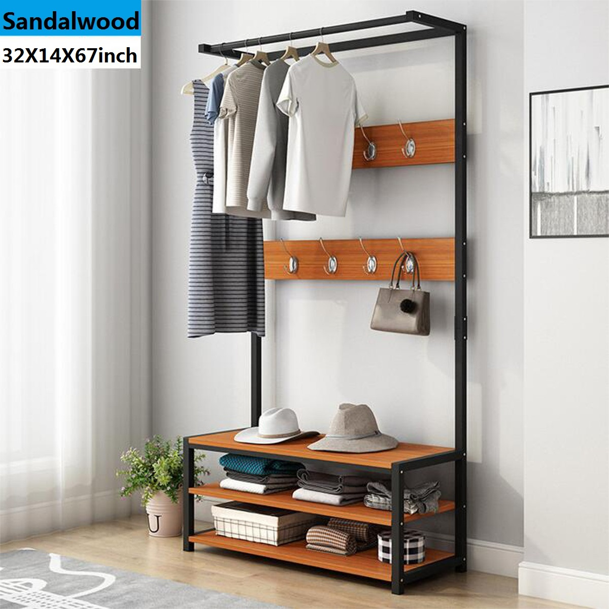 32inchx67inch industrial coat rack shoe bench hall tree entryway storage shelf wood look accent furniture with metal frame 3 in 1 design easy