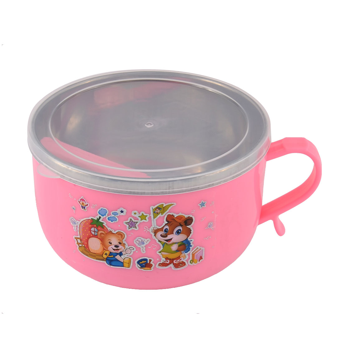 Home School Picnic Camping Double Layers Lunch Box Container Pink w Spoon