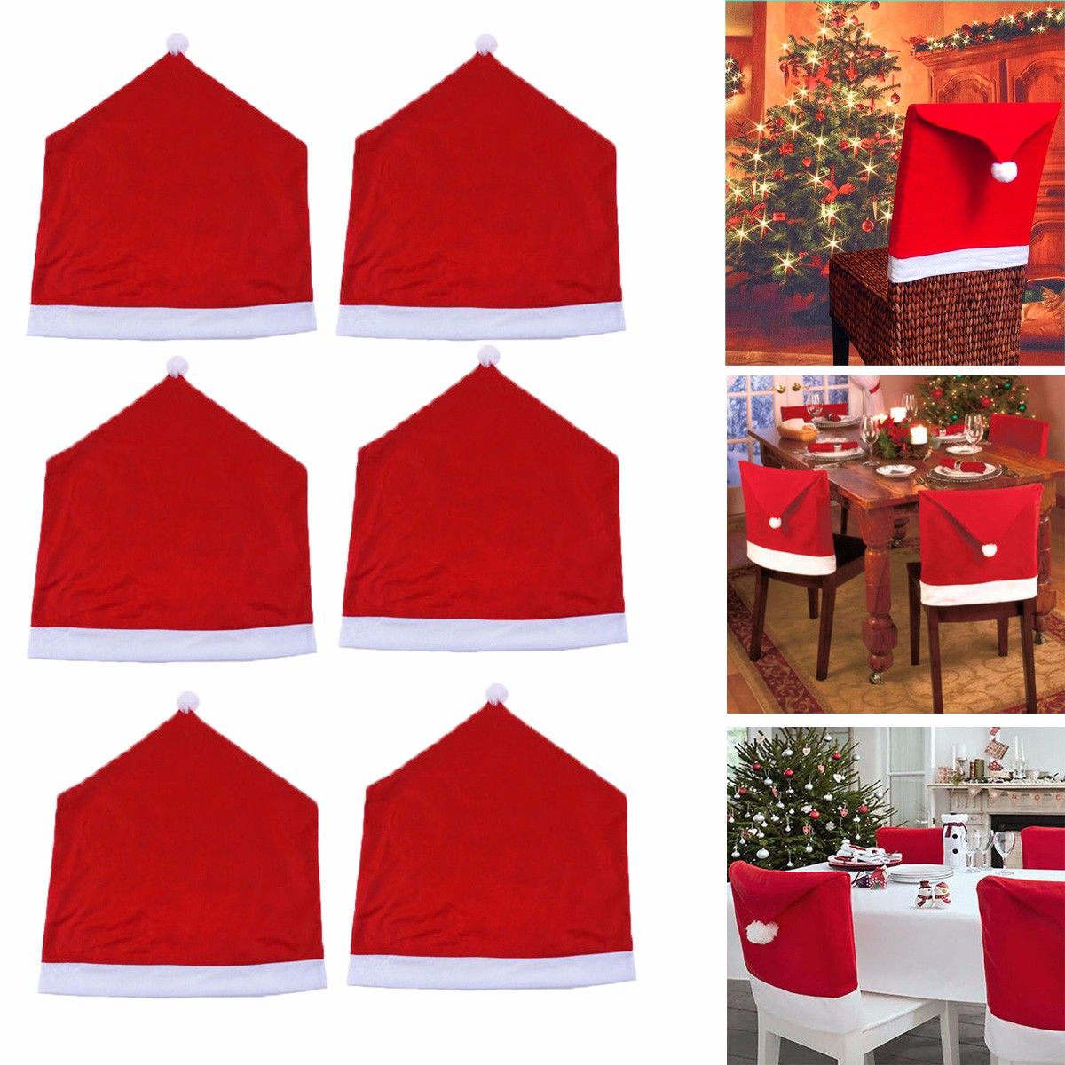 6x Santa Clause Decorations Red Christmas Hat Chair Covers Gifts Walmart Com Walmart Com