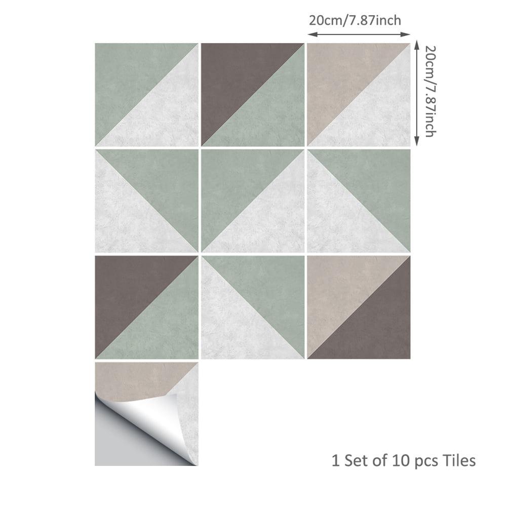 10PCS Skew Lattice Concrete Style Tile Stickers Bathroom Decorative Waterproof Wall Stickers TS041