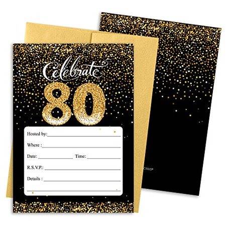 Black And Gold 80th Birthday Party Invitations With Envelopes 25 Count