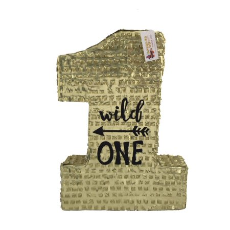 APINATA4U Large Number One Pinata Wild One Theme Gold and Black Color](Number One Pinata)