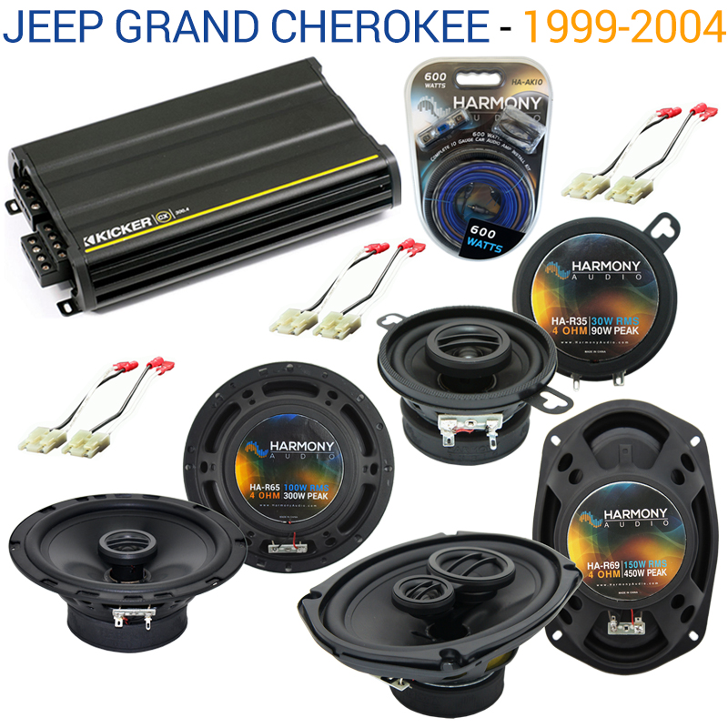 Jeep Grand Cherokee 99-04 OEM Speaker Replacement Harmony Upgrade & CX300.4 Amp Factory Certified Refurbished by Harmony Audio