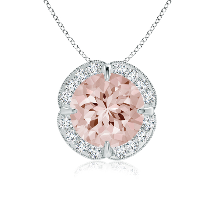 Claw Set Morganite Clover Necklace Pendant with Diamond Halo in 950 Platinum (8mm Morganite) SP0726MGD-PT-AA-8 by Angara.com
