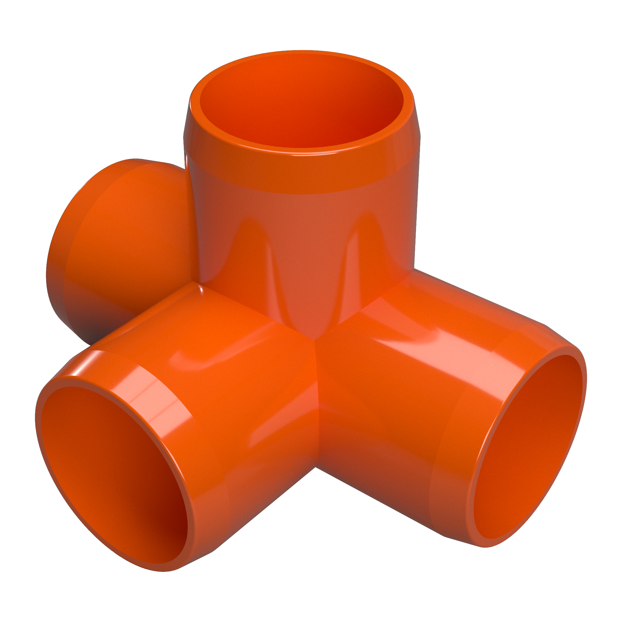 "FORMUFIT F0124WT-OR-10 4-Way Tee PVC Fitting, Furniture Grade, 1/2"" Size, Orange , 10-Pack"