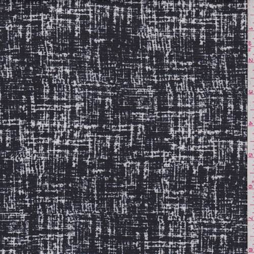 Black/White Crosshatch Ponte Double Knit, Fabric By the Yard