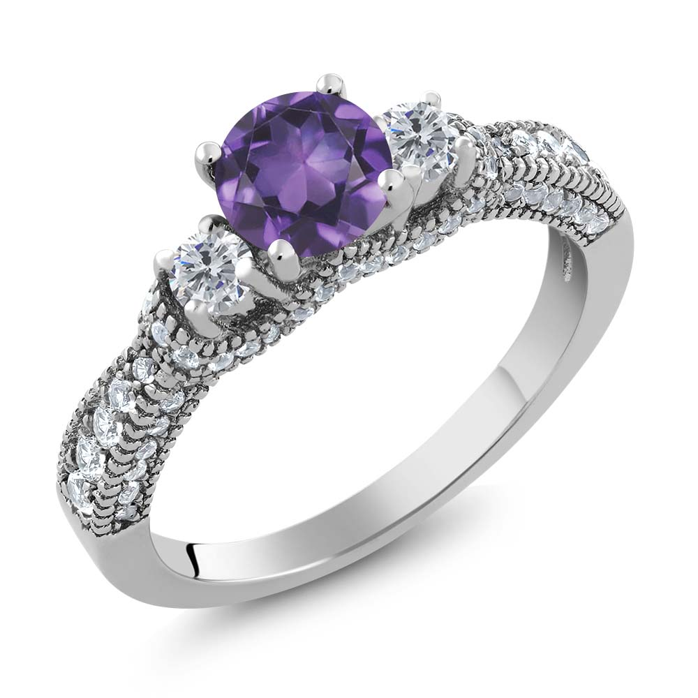 1.89 Ct Round Purple Amethyst G/H Diamond 925 Sterling Silver Ring