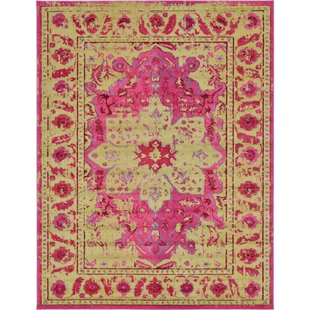 Traditional Dauphine Collection Area Rug In Rose Color And