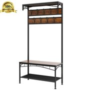 Rackaphile Vintage Coat Rack Shoe Bench, Hall Tree Entryway Storage Shelf, Wood Look Accent Furniture With Metal Frame, 3 In 1 Design, Easy Assembly