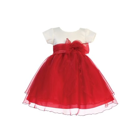 Bow Satin Crystals - Lito Girls Red Ivory Satin Crystal Organza Bow Accent Christmas Dress