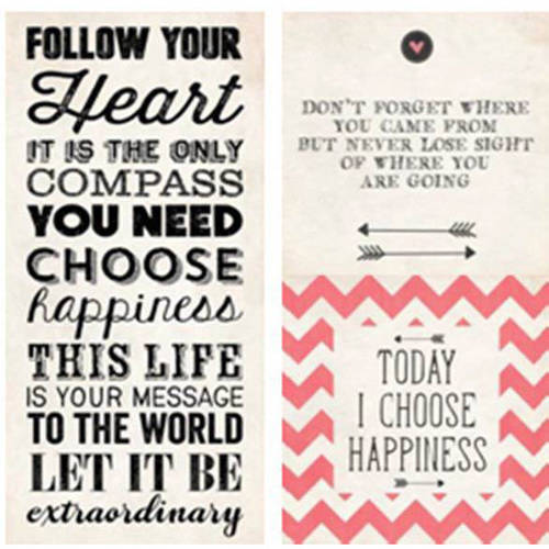 "Follow, Don't Forget, Choose Happiness 6 3-Piece Wall Art Set, 23"" x 23"""