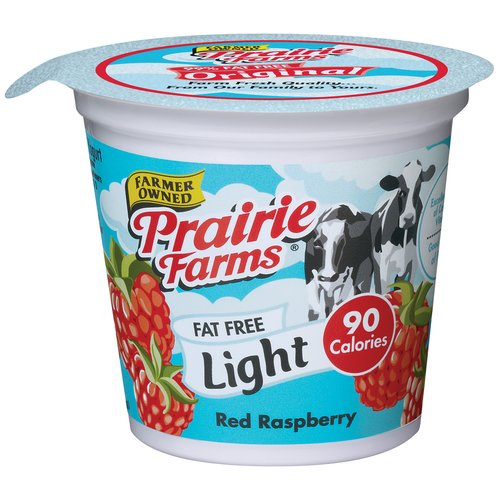 Prairie Farms Red Raspberry Fat Free Yogurt, 6 oz