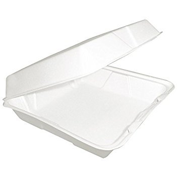Dart 85HT1R, 8x8x3-Inch Performer White Single Compartment Foam Container with a Removable Hinged Lid, Carryout Food Disposable Containers (50)