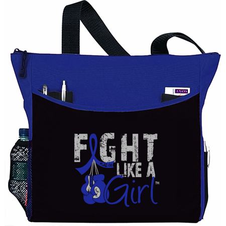 Fight Like a Girl Colon Cancer RA Anal Rectal Cancer Tote Bag - Dakota, Blue Ribbon