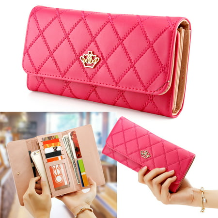 Pink Leather Checkbook Wallet - Fashion Lady Check Plaid Faux Leather Women Wallet Clutch Long Purse Card Holder Handbag