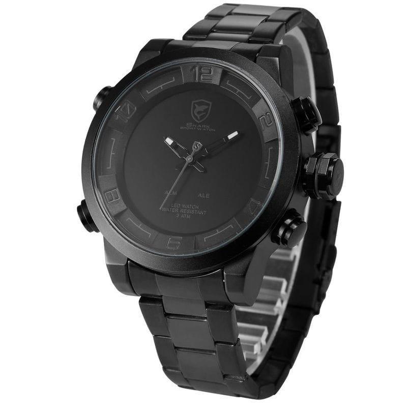 eForcity Shark Sport Watch Mens Black/ Grey Stainless Ste...