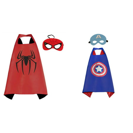 Captain America & Spiderman Costumes - 2 Capes, 2 Masks w/Gift Box by Superheroes