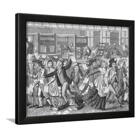 Mobi Frame (18Th-Century Cartoon of a Mob Storming a Printers Shop Framed Print Wall Art)