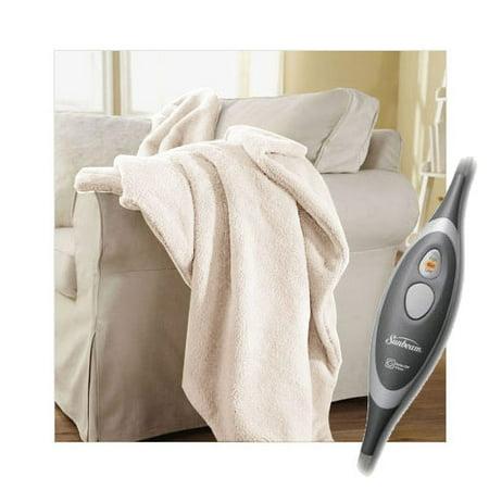 Electric Throw Blanket Walmart Best Sunbeam SlumberRest LoftTec Heated Electric Throw Blanket Seashell