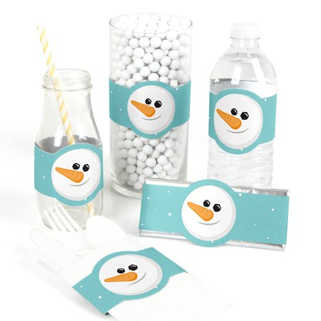 Let It Snow - Snowman DIY Party Supplies - Holiday & Christmas Wrapper Favors - Set of 15