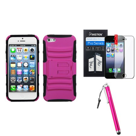Cell Guard Advanced Antioxidant (iPhone 5 / 5s Advanced Armor Stand Case by Insten, Hot Pink/Black + Stylus + LCD Guard)