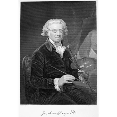 Sir Joshua Reynolds N 1723 1792  English Portrait Painter Line And Stipple Engraving American 19Th Century Rolled Canvas Art     24 X 36