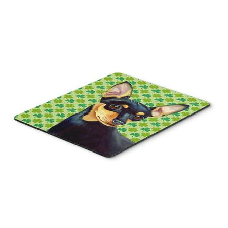 Min Pin St. Patrick's Day Shamrock Portrait Mouse Pad, Hot Pad or Trivet