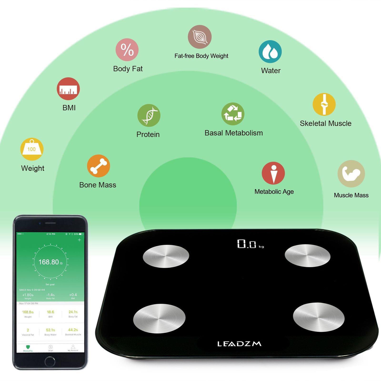Ktaxon LEADZM Smart Digital Bathroom Water Weight Fat Scale Body BMI Mobile Bluetooth Technology