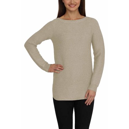 f5fd1f49045f9a Cyrus - CYRUS Womens Ribbed Tunic, High-Low Rounded Hem, Boat Neck, Knit  Sweater Top (Sand Heather, Small) - Walmart.com
