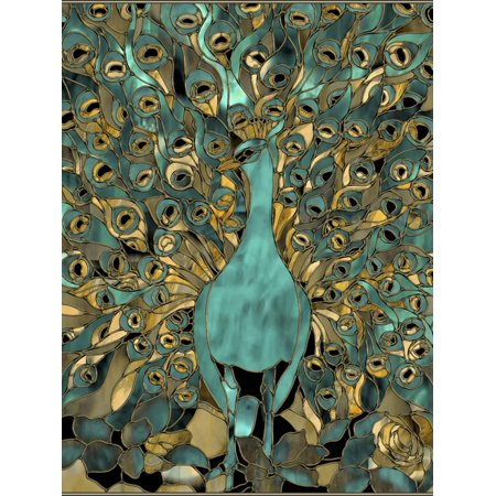 Gold Teal Peacock Teal Turquoise Stained Glass Bird Print Wall Art By Mindy -
