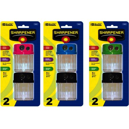 Bulk Buys Bazic Dual Blades Sharpener With Round Receptacle   2 Pack   Case Of 144