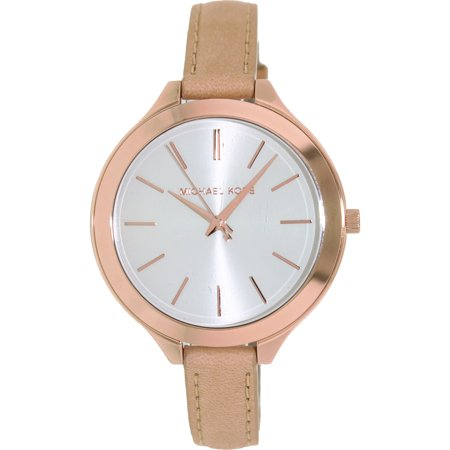 397528ecc60d Michael Kors Slim Runway Watch Rose Gold Leather - HD Image Flower ...