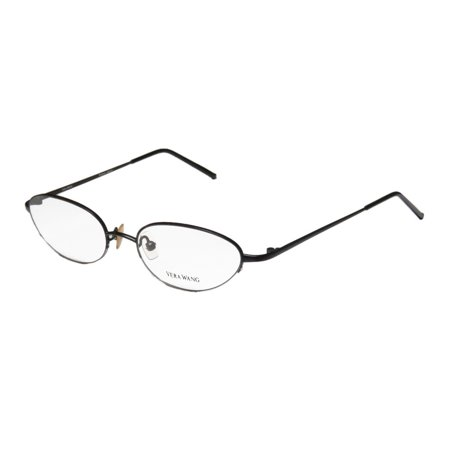 New Vera Wang V06 Womens/Ladies Cat Eye Half-Rim Black Optical Cat Eye Made In Japan Frame Demo Lenses 48-18-130 Eyeglasses/Glasses