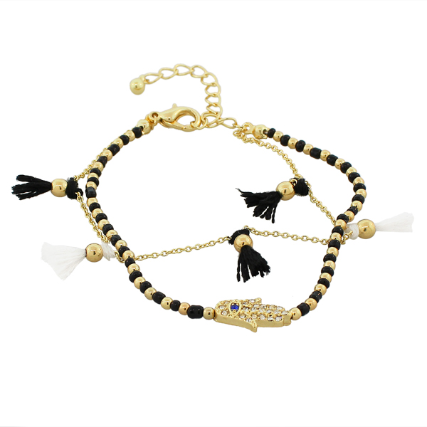 Fashion Alloy Black CZ Hamsa Evil Eye Adjustable Beaded Bracelet