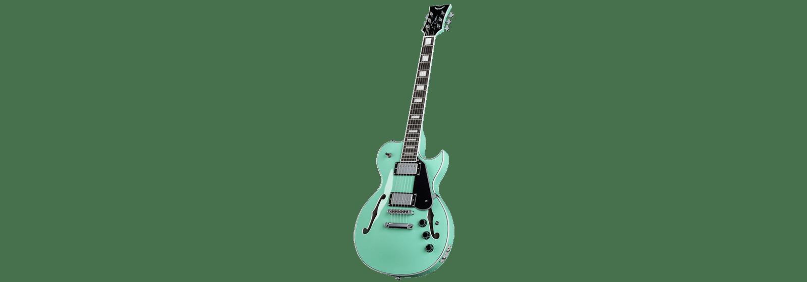 Dean Shire Semi Hollow Body Electric Guitar w  Piezo Aqua by Overstock