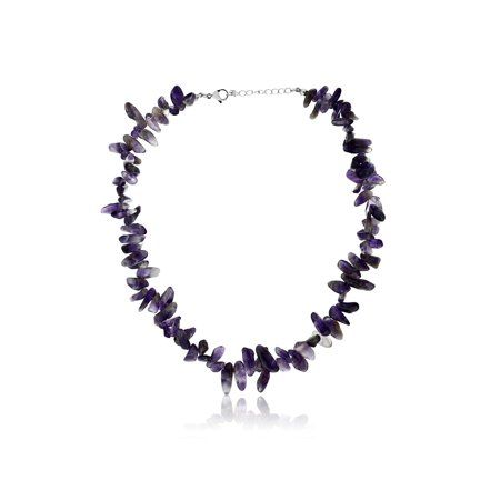 Women's Purple Amethyst Tumble Chip Necklace (Purple Amethyst Chips)