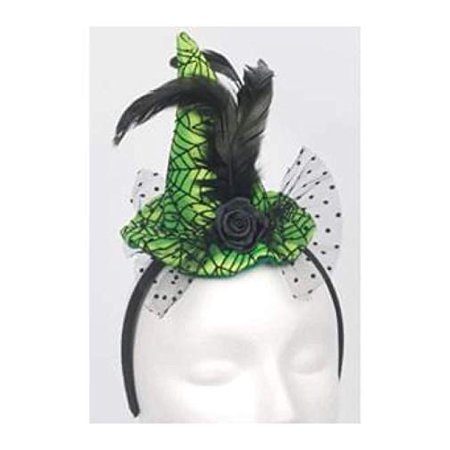 Loftus Mini Lime Web Witch Hat Headband, Green Black, One-Size](Mini Mad Hatter Hats For Sale)