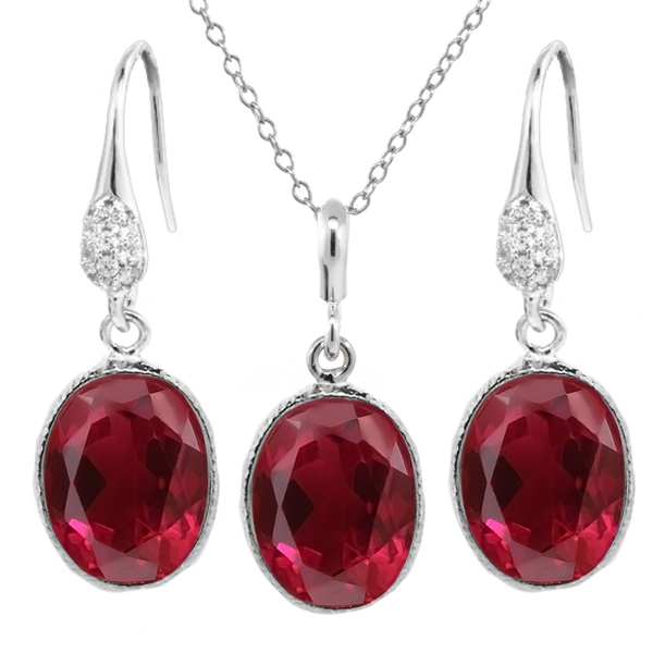 "15.00 Ct Oval Red Created Ruby Sterling Silver Pendant Earrings Set 18"" Chain"