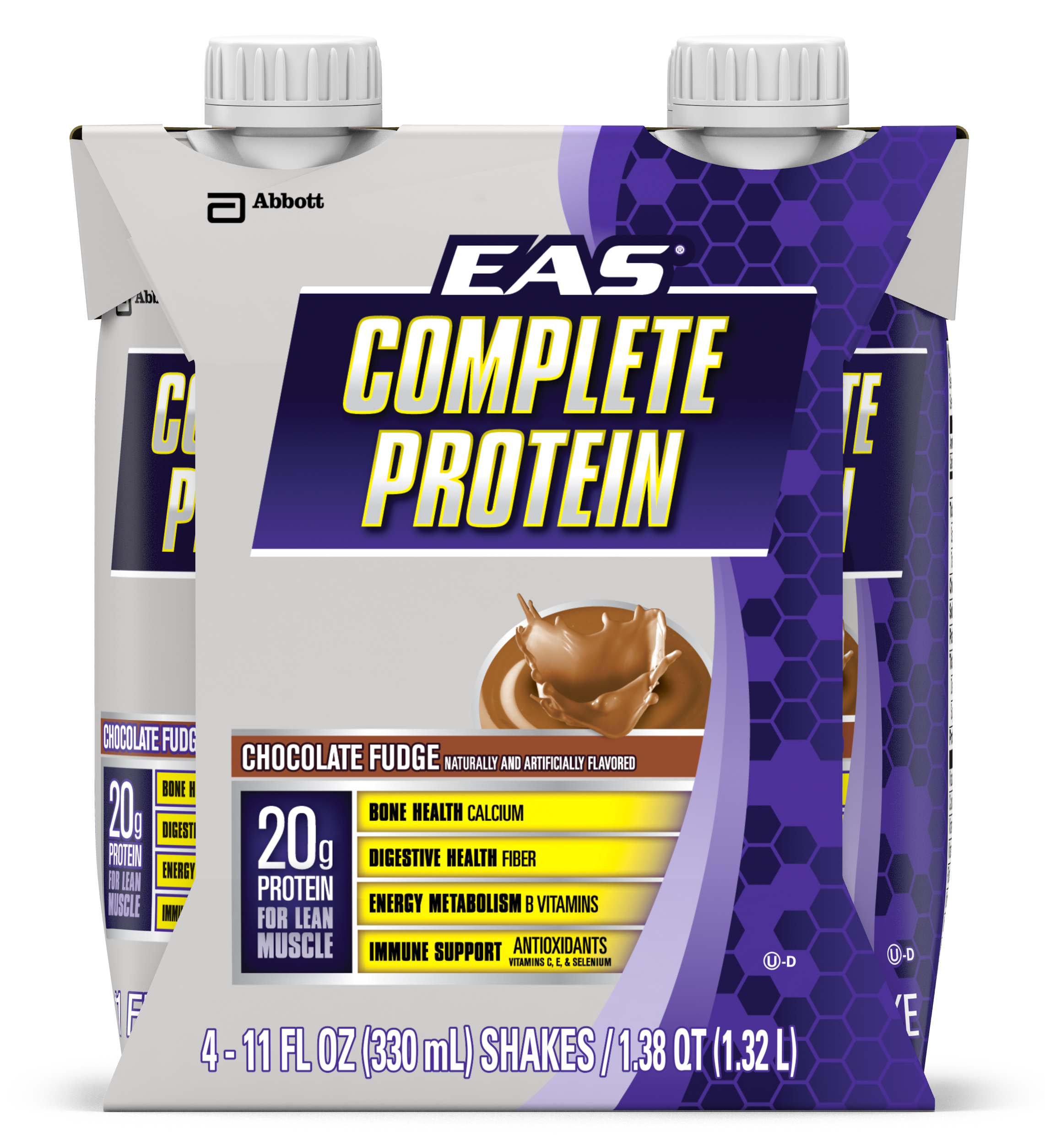 EAS Complete Protein Ready-to-Drink Nutrition Shake, Chocolate Fudge, 11 fl oz (Pack of 4)